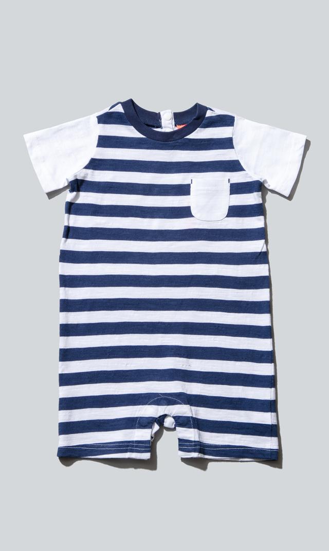 【スヌーヴァ(sunuva)】ベビーTシャツロンパース(ネイビー×ホワイト)/3ヶ月-24ヶ月
