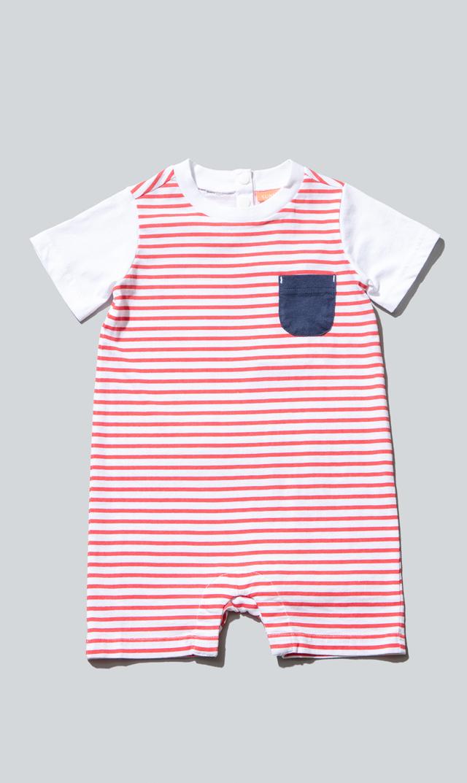 【スヌーヴァ(sunuva)】ベビーTシャツロンパース(レッド×ホワイト)/3ヶ月-24ヶ月