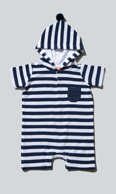 【スヌーヴァ(sunuva)】ベビータオルフードロンパース(ネイビー×ホワイト)/6ヶ月-24ヶ月