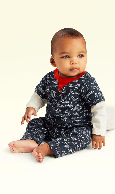【ティー(TEA)】セイルアウェイレイヤードロンパース(インディゴ)3ヶ月-2歳