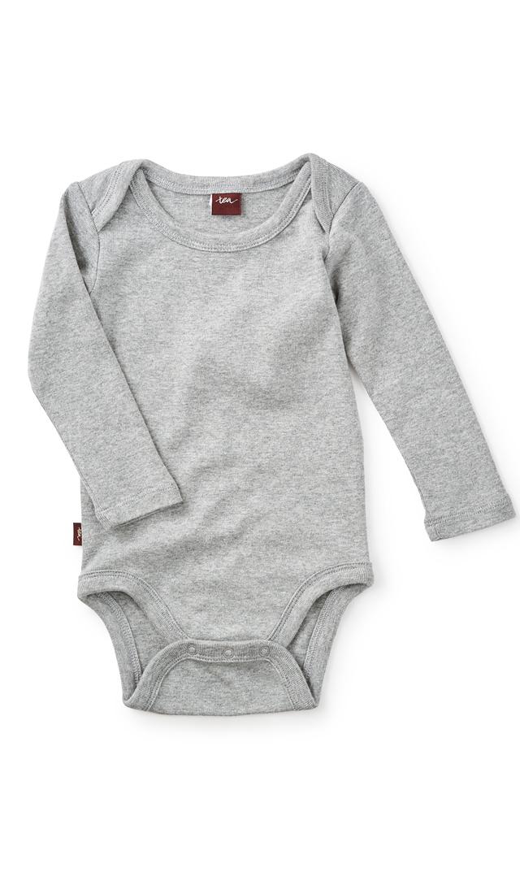 【ティー(TEA)】ベーシックベビーボディスーツ(ライトグレー)3-12ヶ月
