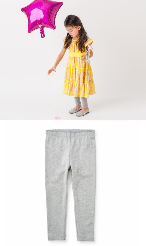 【ティー(TEA)】スキニーソリッドレギンス(グレー)/3ヶ月-7歳