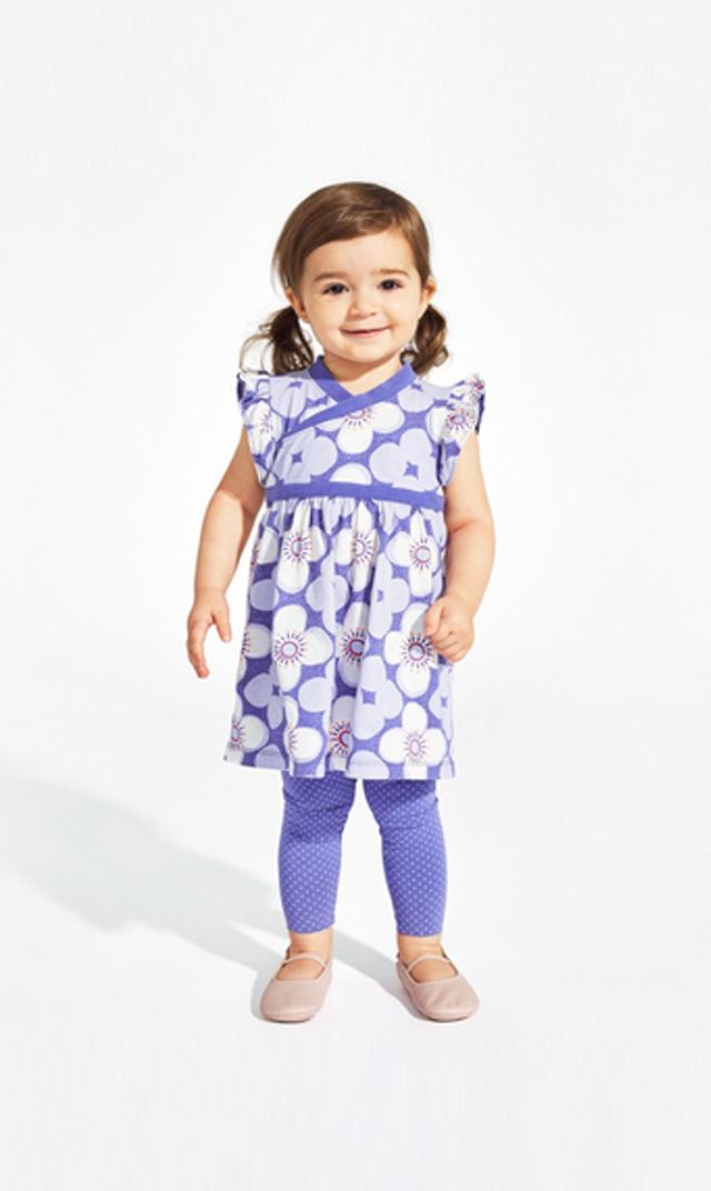 【ティー(TEA)】スターフラワーダブルラップネックベビードレス(パープル)9ヵ月-2歳
