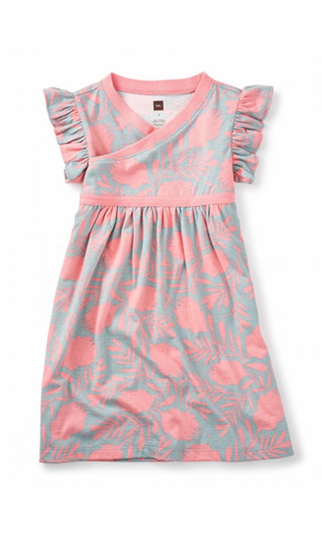 【ティー(TEA)】バンクシアダブルラップネックドレス(ピンク)2-10歳
