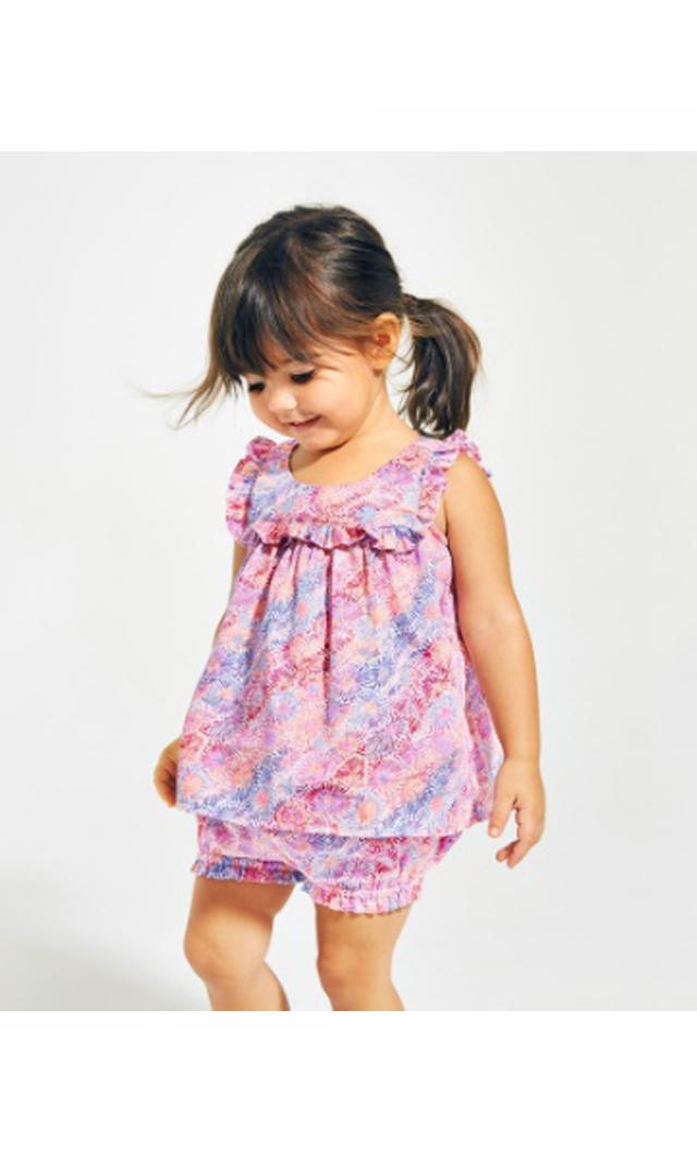 【ティー(TEA)】フラワードリーミングベビーアウトフィット(ピンク)9-24ヶ月
