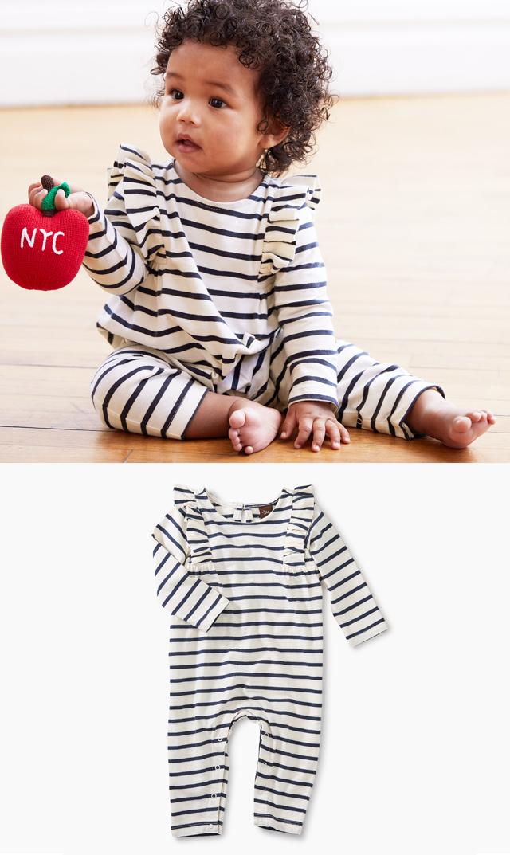 【ティー(TEA)】ラッフルショルダーロンパース(ホワイト×ネイビーボーダー)/3ヶ月-18ヶ月