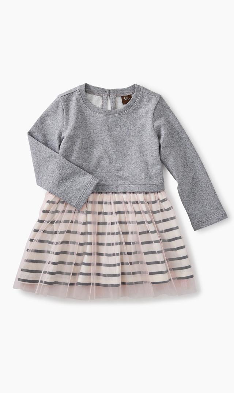 【ティー(TEA)】ストラプチュチュスカートドレス(グレー×ピンク)/3ヶ月-18ヶ月