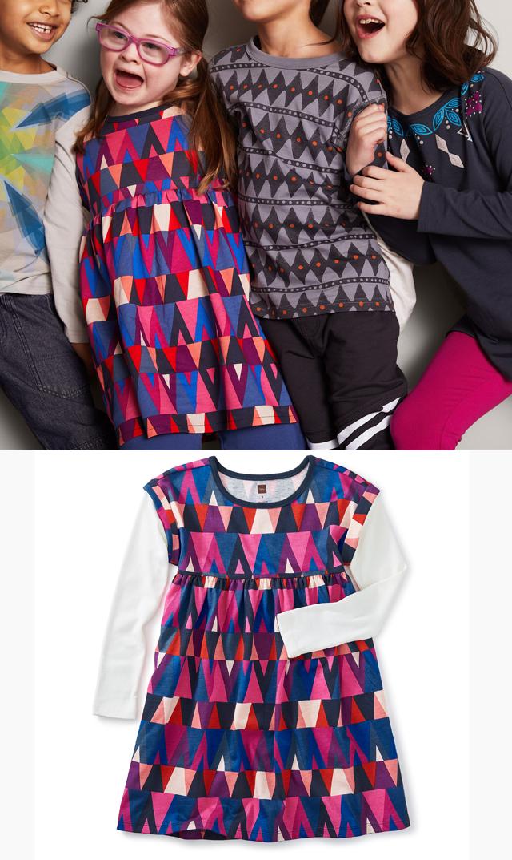 【ティー(TEA)】レイヤードスリーブドレス(マジェンダ×ブルー)/3歳-8歳