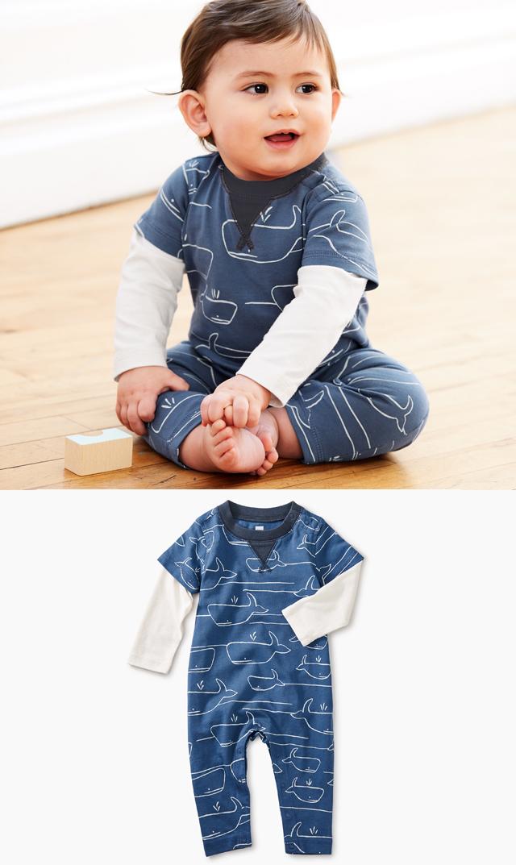 【ティー(TEA)】レイヤードロンパース(ホエールブルー)/3ヶ月-18ヶ月