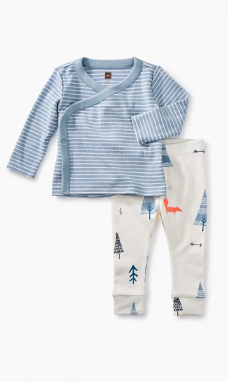 【ティー(TEA)】ラップトップ&パンツ(ブルー×トルマリン)/0ヶ月-9ヶ月