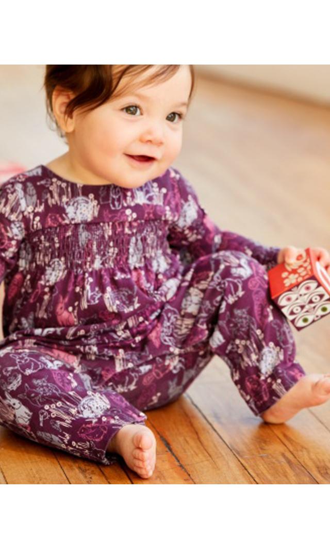【ティー(TEA)】スモックロンパース(フォレストフレンド)/3ヶ月-18ヶ月
