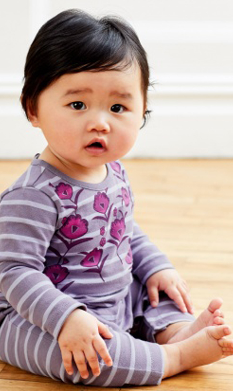 【ティー(TEA)】グラフィックガーデンロンパース(パープルボーダー)/3ヶ月-18ヶ月