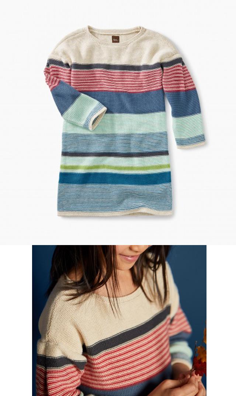 【ティー(TEA)】セータードレス(オートミールマルチ)/2歳-8歳