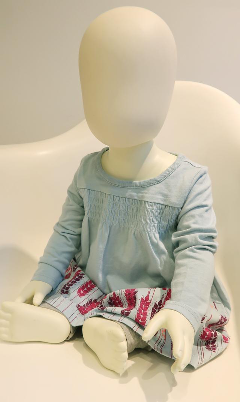 【ティー(TEA)】スモックグラフィックベビーロドレス(スターリングブルー)/9-12ヶ月