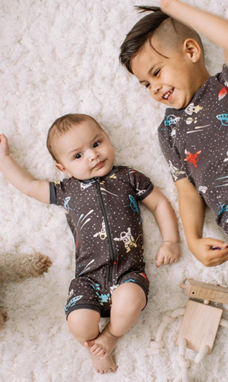 【ティー(TEA)】ショートスリーブベビーパジャマ(スペース)/3ヶ月-18ヶ月