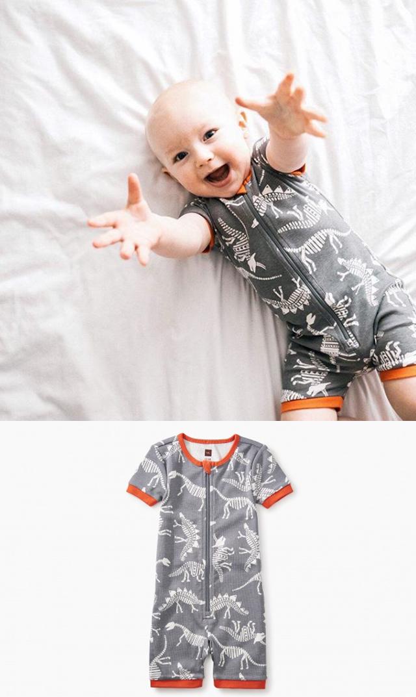 【ティー(TEA)】ショートスリーブベビーパジャマ(ダイナソー)/3ヶ月-18ヶ月