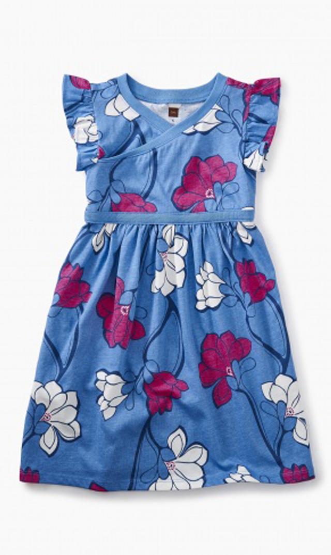 【ティー(TEA)】ラップネックドレス(マグノリア×ブルー)/2歳-8歳