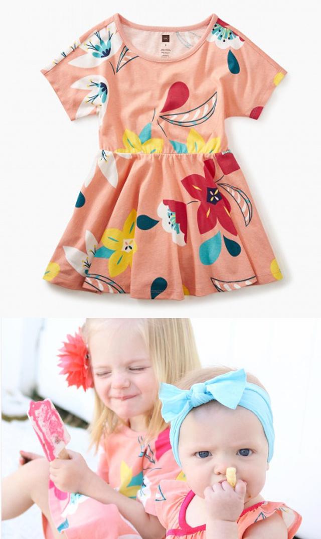 【ティー(TEA)】スカートドレス(フラワー×アプリコット)/2歳-6歳