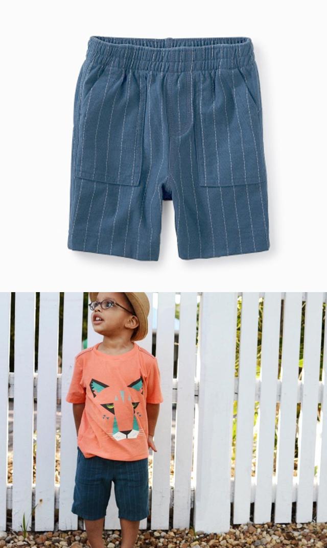 【ティー(TEA)】ストライプショートパンツ(ネイビー)/9ヶ月-6歳