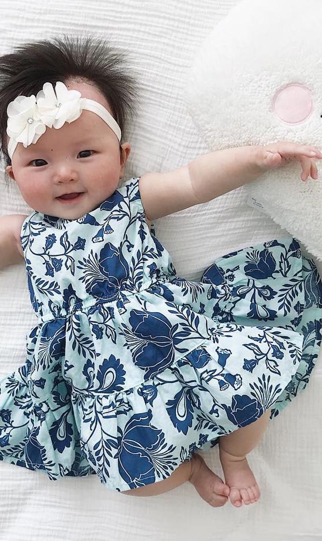 【ティー(TEA)】ティアードスカートロンパース(ブルーフローラル)/6ヶ月-18ヶ月