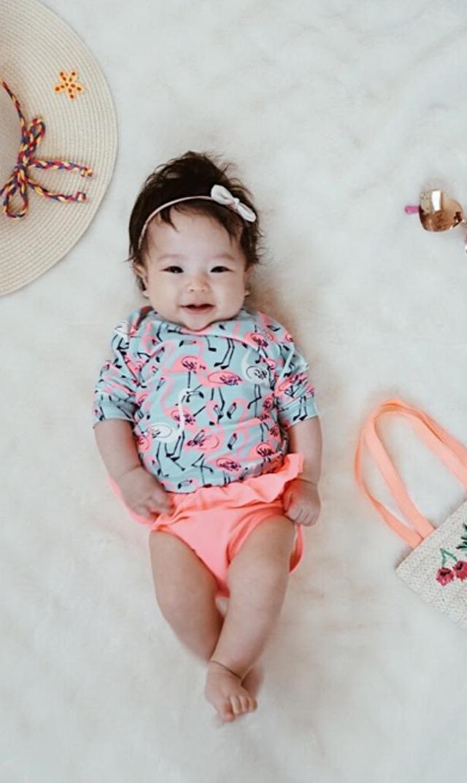 【ティー(TEA)】ラッシュガードセット(フラミンゴ)/9ヶ月-24ヶ月
