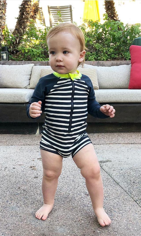 【ティー(TEA)】オールインワンラッシュガード(ネイビーストライプ)/6ヶ月-24ヶ月