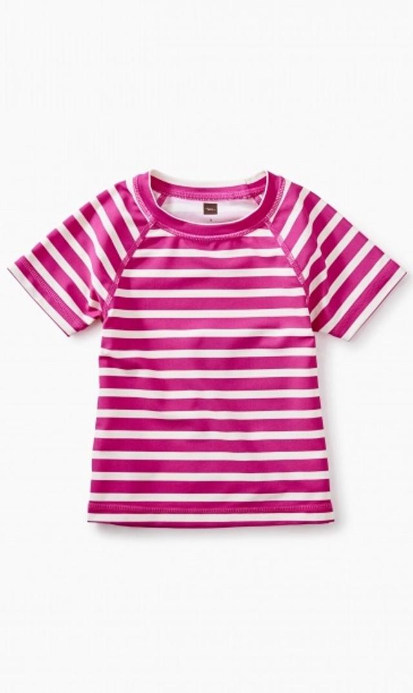 【ティー(TEA)】ビーチラッシュガード(ピンクストライプ)/2歳-6歳