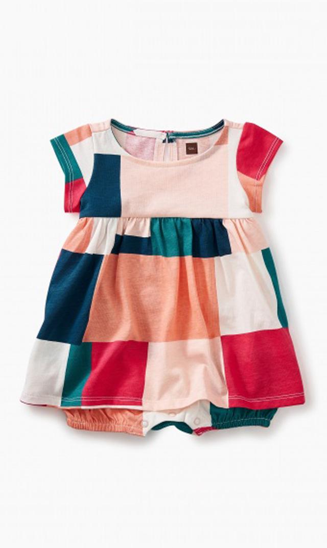 【ティー(TEA)】パッチワークロンパースドレス(マルチ)/0ヶ月-18ヶ月