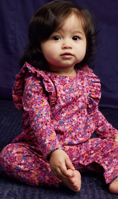 【ティー(TEA)】ラッフルショルダーフローラルロンパース(ピンク)/3ヶ月-12ヶ月