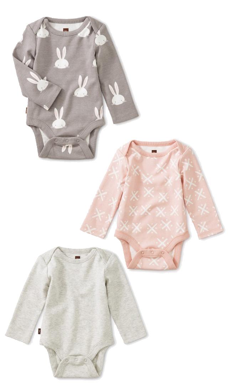 【ティー(TEA)】ベビーボディスーツ3枚セット(ウサギ)/3ヶ月-9ヶ月