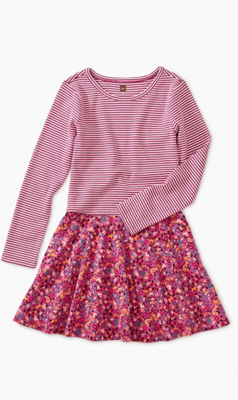 【ティー(TEA)】スカートドレス(サンライズフローラル×ピンク)/2歳-8歳
