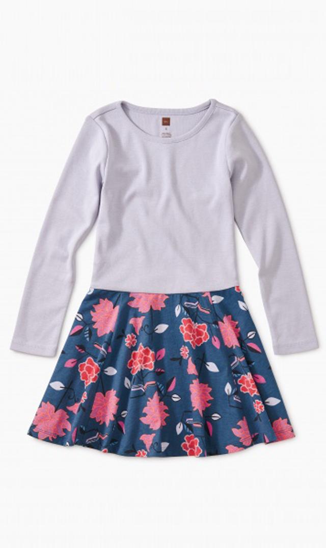 【ティー(TEA)】スカートドレス(チベットフローラル×ネイビー)/2歳-10歳