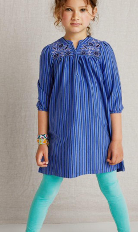 【ティー(TEA)】刺繍入りヘンリードレス(ブルー)/3歳-7歳
