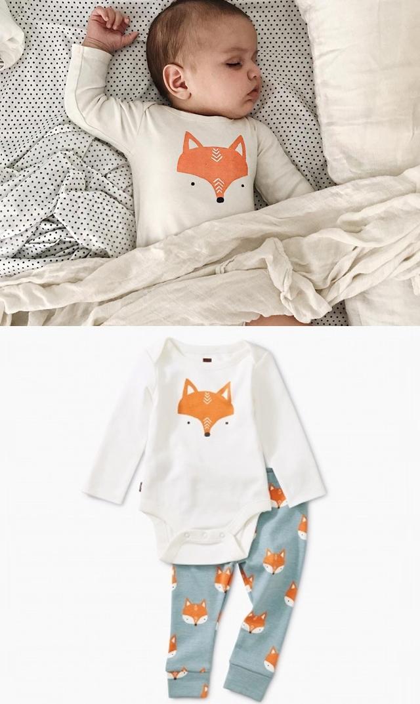【ティー(TEA)】ベビーボディスーツ&パンツセット(キツネ)/6ヶ月-9ヶ月