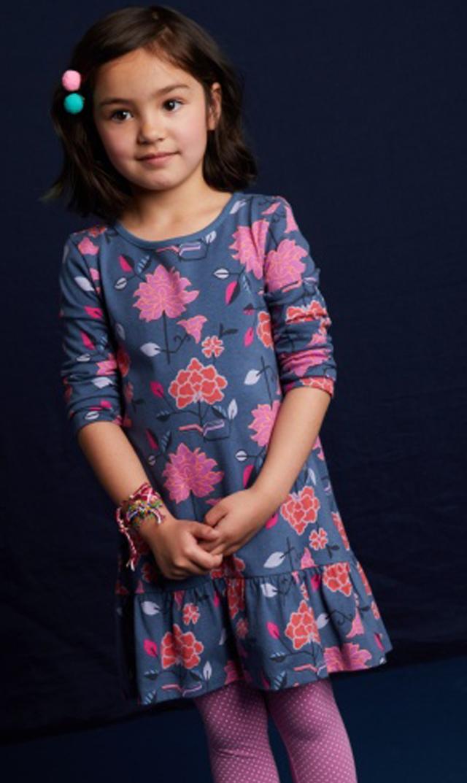 【ティー(TEA)】フレアドレス(チベットフローラル×ネイビー)/2歳-8歳