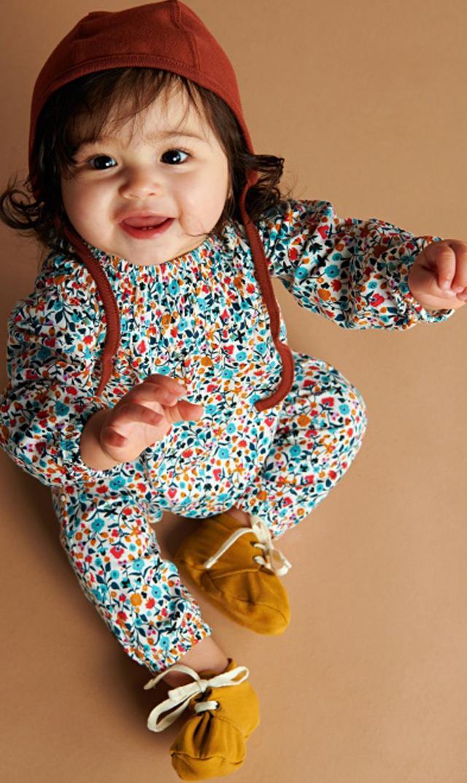 【ティー(TEA)】スモックロンパース(フローラル)/6ヶ月-12ヶ月