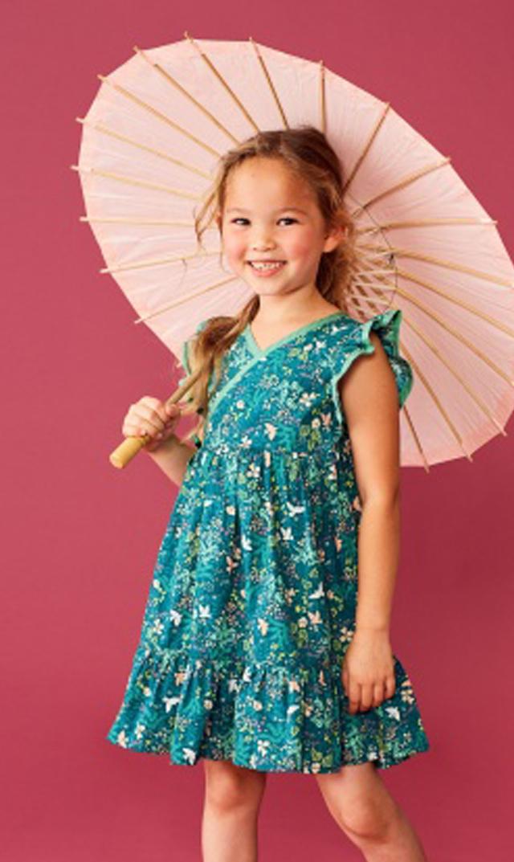 【ティー(TEA)】フラッタースリーブラップネックドレス(グリーン×ホワイト)/2歳-6歳