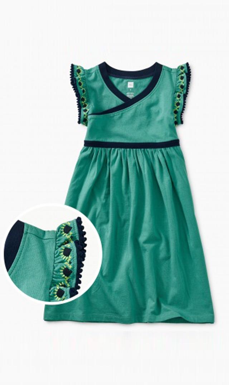 【ティー(TEA)】ラップネックドレス(グリーン)/2歳-8歳