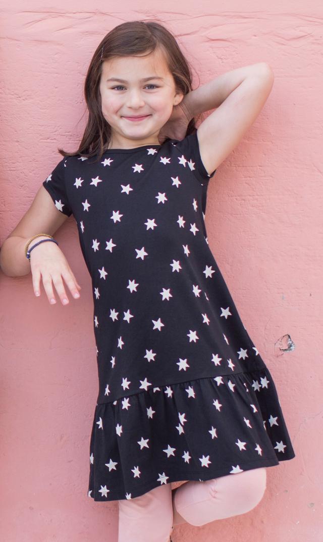 【ティー】ラッフルヘムドレス(スター×ブラック)/3歳-8歳
