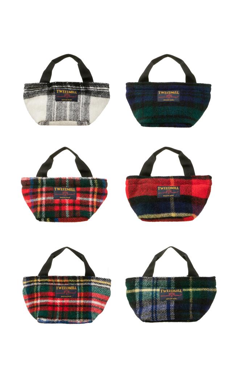 【ツィードミル(TWEEDMILL)】タータンチェックウールハンドバッグ(6色展開)