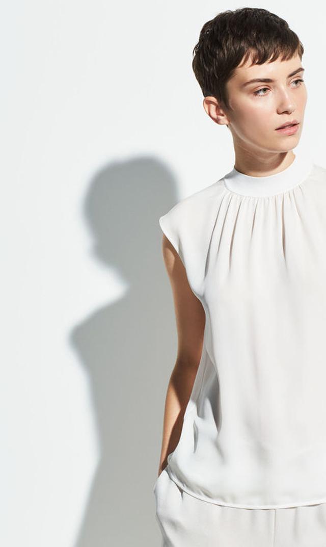 【ヴィンス(VINCE.)】リブトリムシェルトップス(ホワイト)