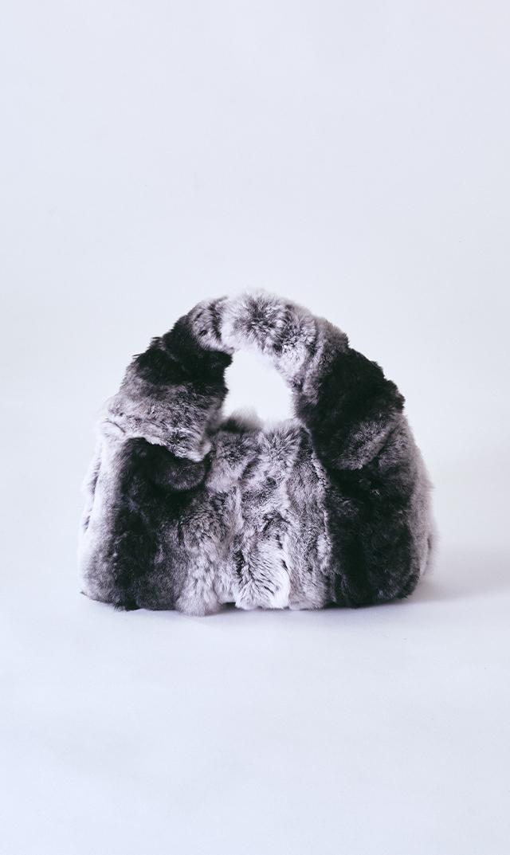 【ヴィオラドーロ】レープレラビットファーショルダーバッグ(チンチラ)