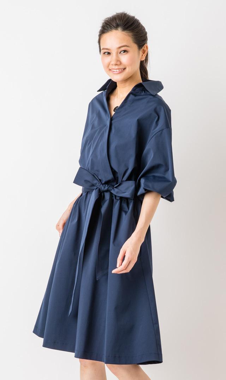 【ヴィリーナ(VIRINA)】サラシャツドレス(ダークネイビー)