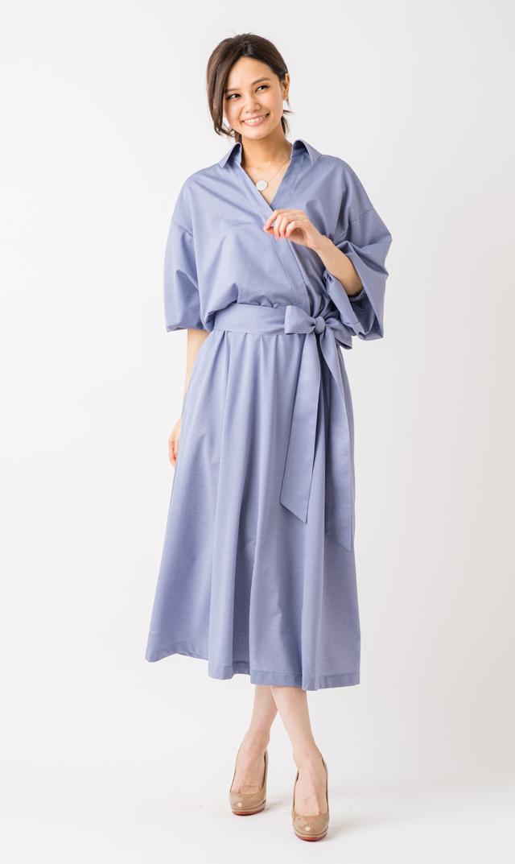 【ヴィリーナ(VIRINA)】ストライプシャツドレス(ブルー)