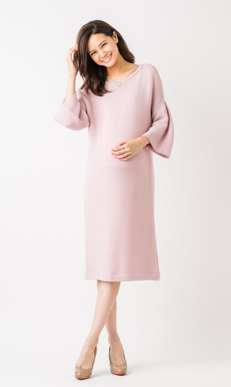 【ヴィリーナ(VIRINA)】オープンショルダーサマーニットドレス(ピンク) XS/S