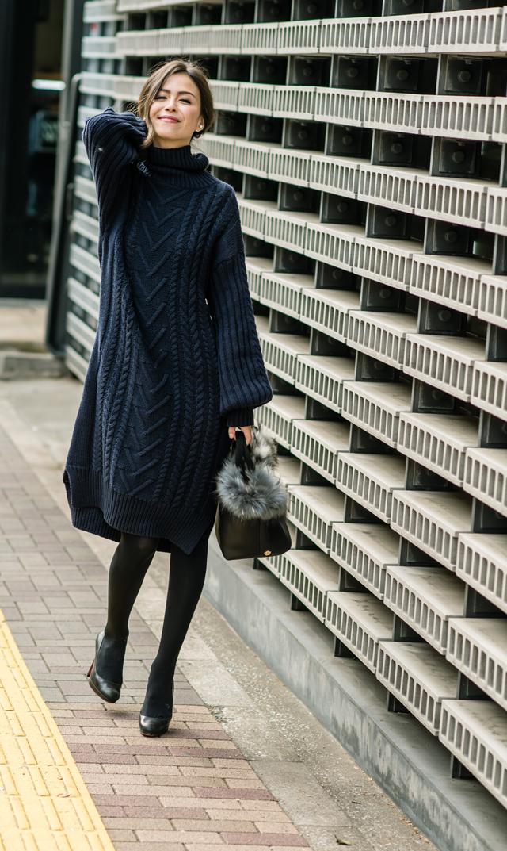 【ヴィリーナ(VIRINA)】ケイティナーシングニットドレス(ネイビー)