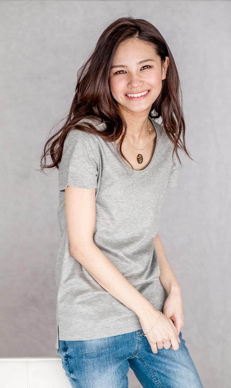 <おまとめCP対象>【ヴィリーナ】ブライトスムースTシャツ(ライトグレー)