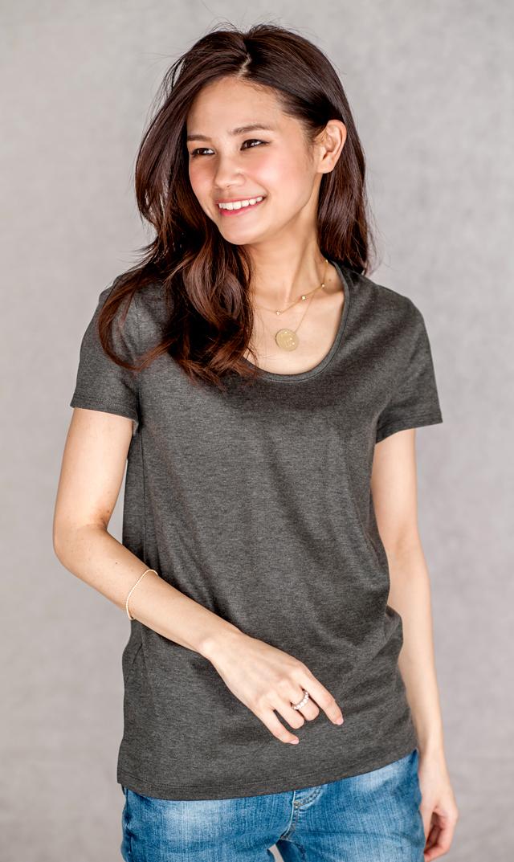 <おまとめCP対象>【ヴィリーナ】ブライトスムースTシャツ(チャコール)