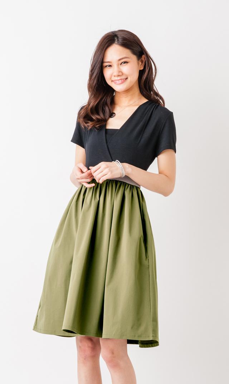 【ヴィリーナ(VIRINA)】サラカラーブロックナーシングドレス(ブラック×カーキ)