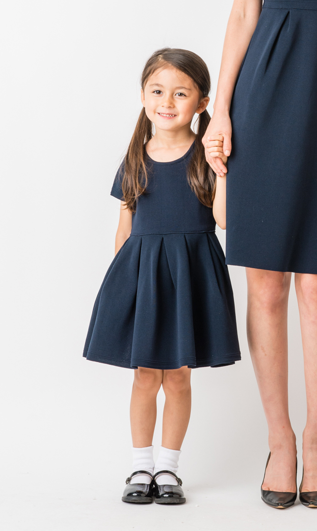 【ヴィリーナ(VIRINA)】エミリーニットキッズドレス(ネイビー)100-140cm